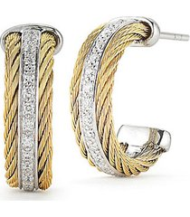 18k white gold stainless steel & 0.27 tcw diamond earrings