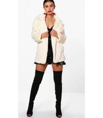 petite luxe faux fur jas met oversized kraag, crème
