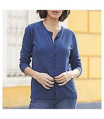 cotton blend cardigan, 'simple style in royal blue' (peru)