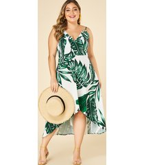 plus size leaf print spaghetti strap v-neck dress
