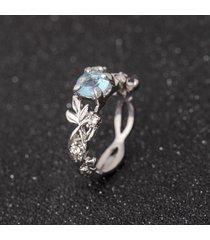 elegante argento blu cristallo anelli moda foglia forma anello migliore regalo per le donne