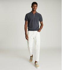 reiss columbus - cotton zip neck polo shirt in anthracite, mens, size xxl