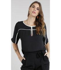blusa feminina com vivo contrastante manga curta preta