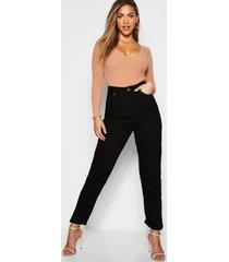 high rise roll hem mom jeans, black