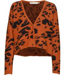 ineziw cardigan gebreide trui cardigan oranje inwear