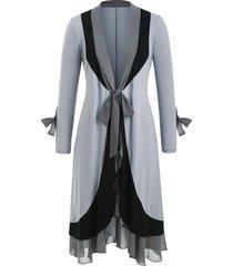 knotted chiffon panel flounces plus size duster coat