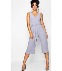 basic ribbed culotte jumpsuit, silver