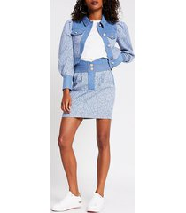 river island womens blue high waisted boucle mix denim skirt