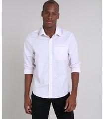 camisa masculina comfort estampada com bolso manga longa rosa claro