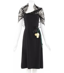 prada 2019 lace capelet satin rosette dress black/yellow sz: xs