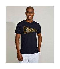 "camiseta masculina finalista"" manga curta gola careca azul marinho"""
