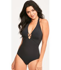 icon strapping non-wired halter shaping one-piece swimsuit
