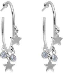 orecchini a cerchio silver collection argento stelle e cubic zirconia per donna