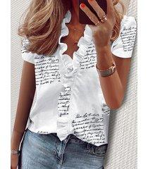 blusas de manga corta con cuello en v y estampado de letras y calicó