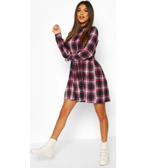 flannel high neck long sleeve smock dress, navy