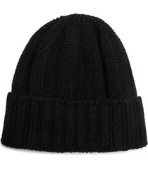 men's beams plus rib cashmere cap - black