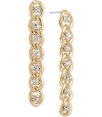 rachel rachel roy gold-tone crystal & chain-link linear drop earrings