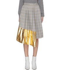 metallic panel pleated check skirt