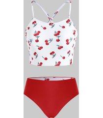 cherry print crisscross lace-up back reversible tankini swimwear