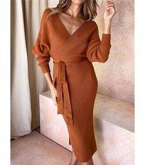 naranja sin respaldo diseño con cuello en v vestido