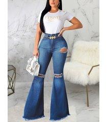 detalles rasgados al azar azules jeans acampanados de cintura alta