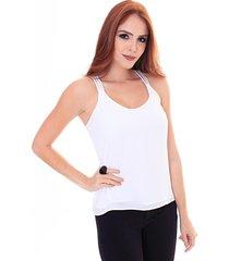 blusa sideral alça com termocolante off white