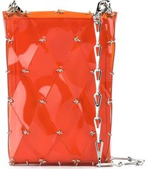paco rabanne diamond-pattern pierced shoulder bag - orange