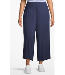 lane bryant women's active wide leg capri 14/16 peacoat blue