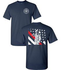 thin red line firefighter american flag fire department men's tee shirt 1684