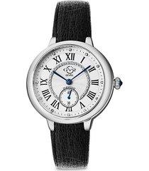 rome vegan stainless steel, diamond & vegan leather strap watch
