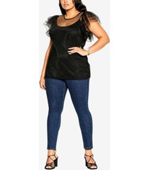 city chic trendy plus size spotty time top