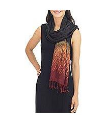 tie-dyed scarf, 'black red kaleidoscopic' (thailand)