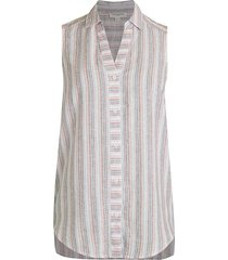 beach lunch lounge women's redda stripe high-low linen-cotton sleeveless blouse - size xs