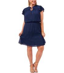 msk plus size smocked-waist tiered chiffon dress
