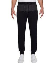 pantalón de chándal slim de mezcla de tejidos negro calvin klein