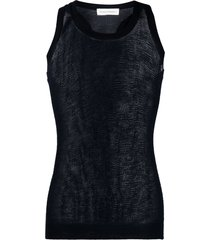 extreme cashmere knitted cashmere vest - blue