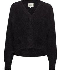 brook knit boxy cardigan stickad tröja svart second female