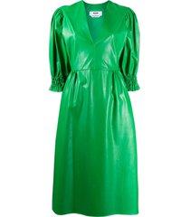 msgm leather look full sleeve dress - green