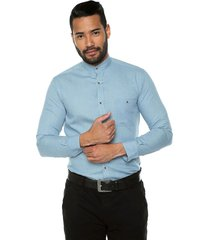 camisa manga larga slim fit masculino cuello neru jean claro los caballeros