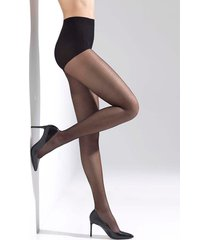 natori silky sheer tights, women's, black, cotton, size l natori