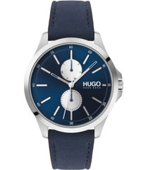 hugo men's #jump blue leather strap watch 40mm