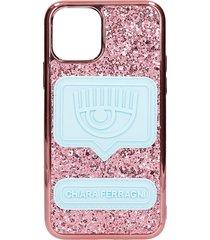 chiara ferragni iphone 11 pro glitter eeyelike iphone / ipad case in rose-pink silicone