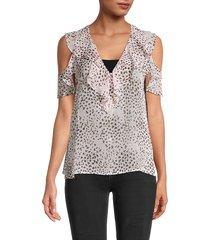 bcbgmaxazria women's leopard-print cold-shoulder top - pink rose - size xs