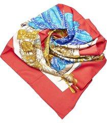hermes buddha statue silk scarf white, multi sz: