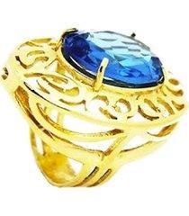 anel escudo com cristal topázio