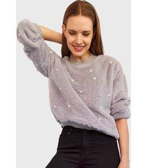sweater nrg perlas peludito gris - calce holgado