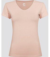 t-shirt i bomull med v-ringning - nude