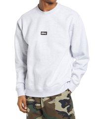 men's obey black bar crewneck sweatshirt, size medium - grey