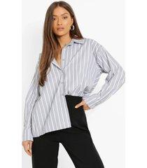 korte mono gestreepte boxy blouse, black