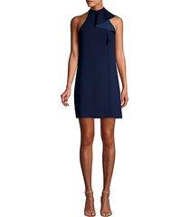capilla classic crepe mockneck sheath dress